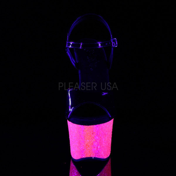 Pleaser Sky-309UVLG, Neon Pink Blacklight Reactive Pole Dance Heels - Pleaser Shoes