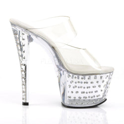 Pleaser Stardust-702, Double Band Rhinestone Stripper Heels - Pleaser Shoes