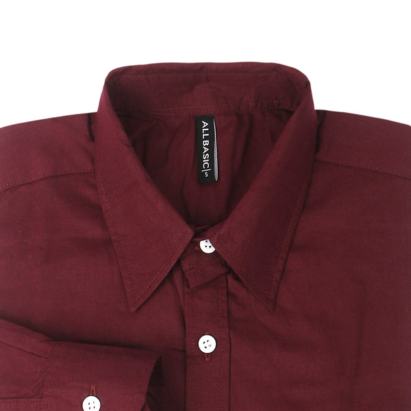 TWILL LONG SLEEVE SHIRT - MAROON
