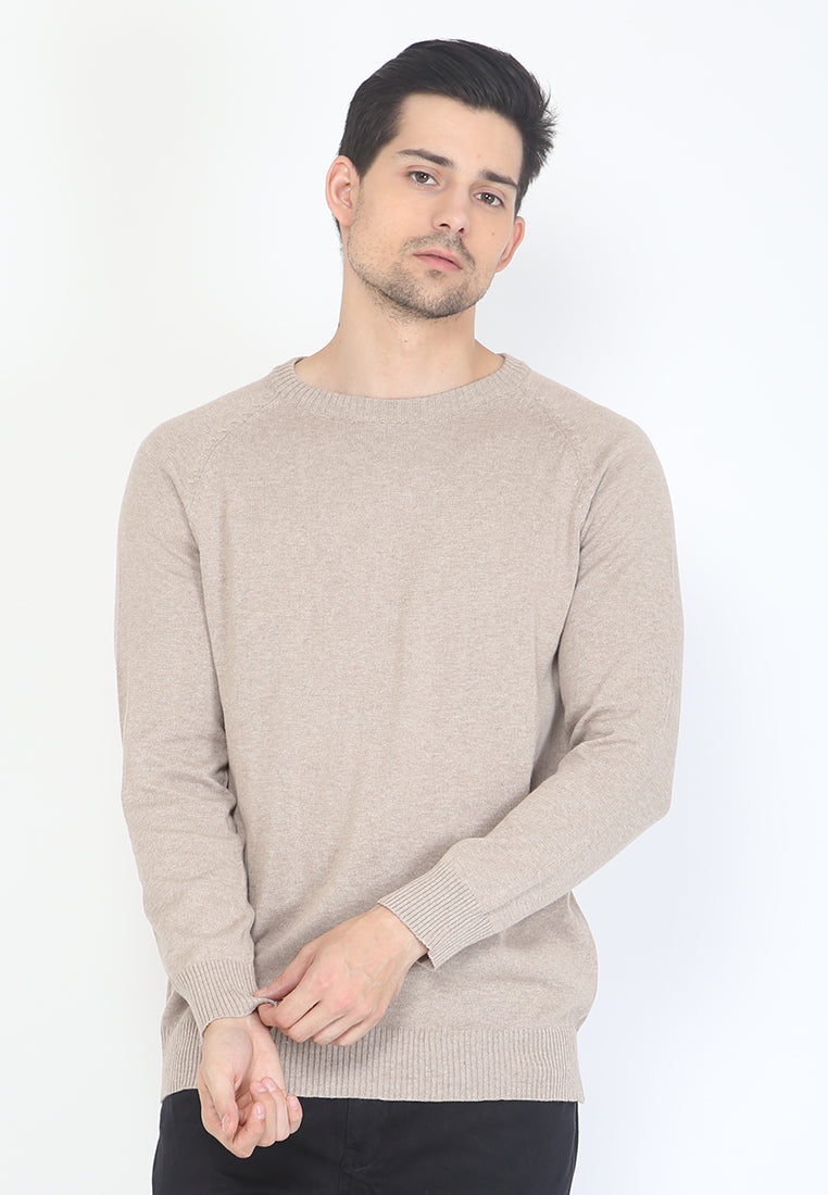 MEN KNIT SWEATER - KHAKI