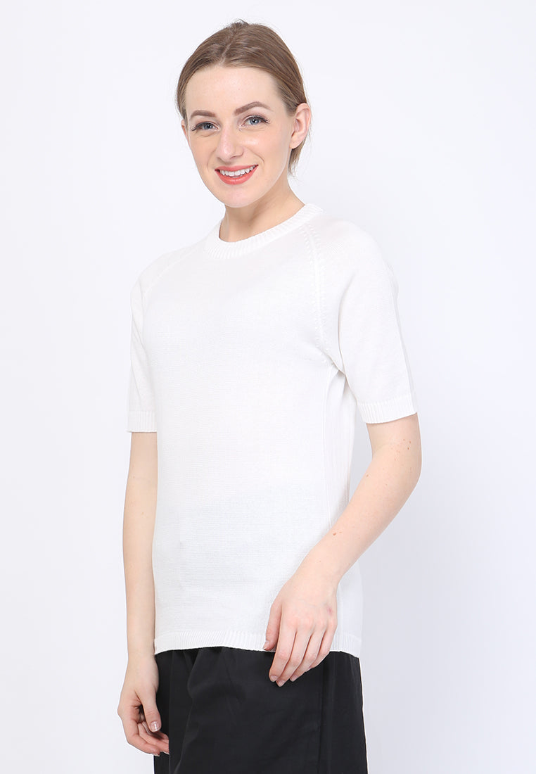 WOMEN KNIT SHORT SLEEVE - WHITE