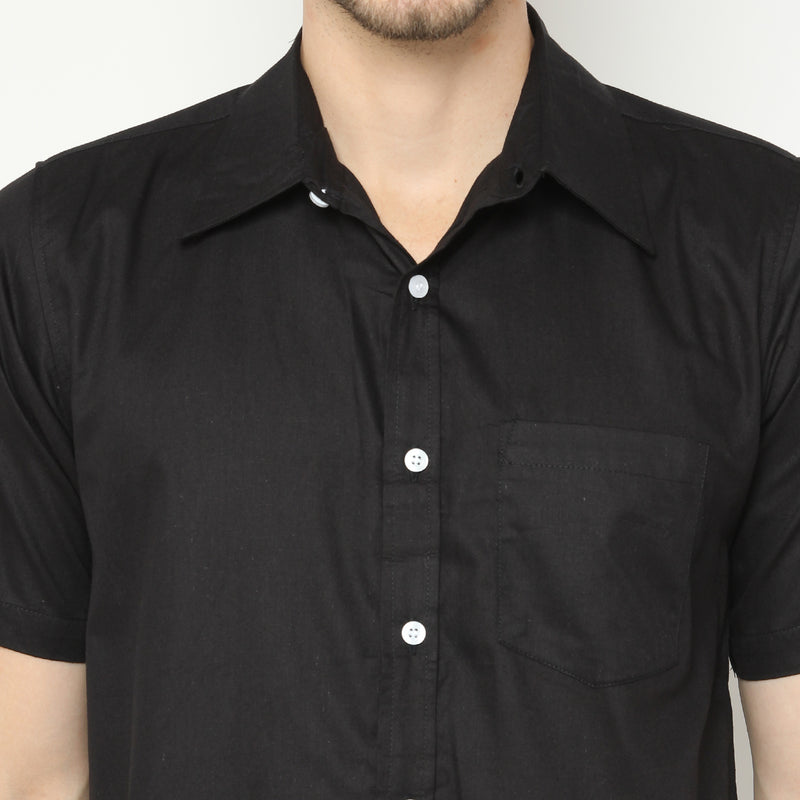 TWILL SHORT SLEEVE SHIRT - BLACK