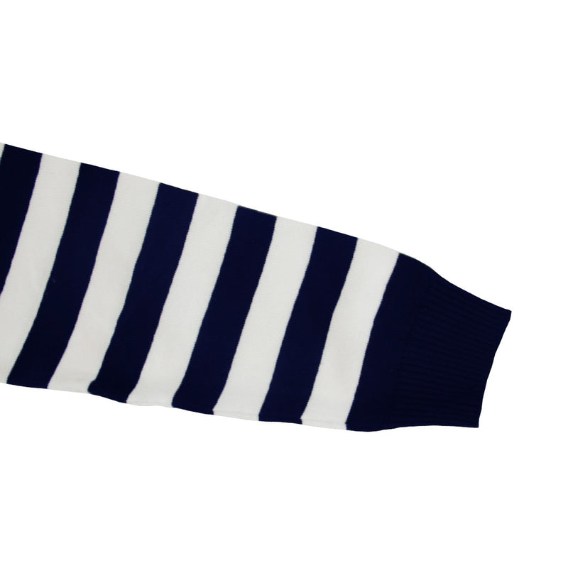 MEN STRIPE KNITTED SWEATER - NAVY