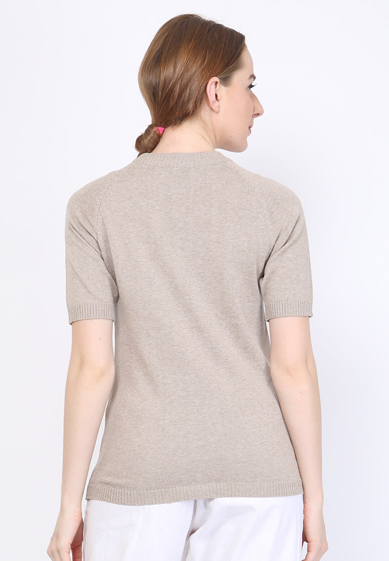 WOMEN KNIT SHORT SLEEVE - KHAKI