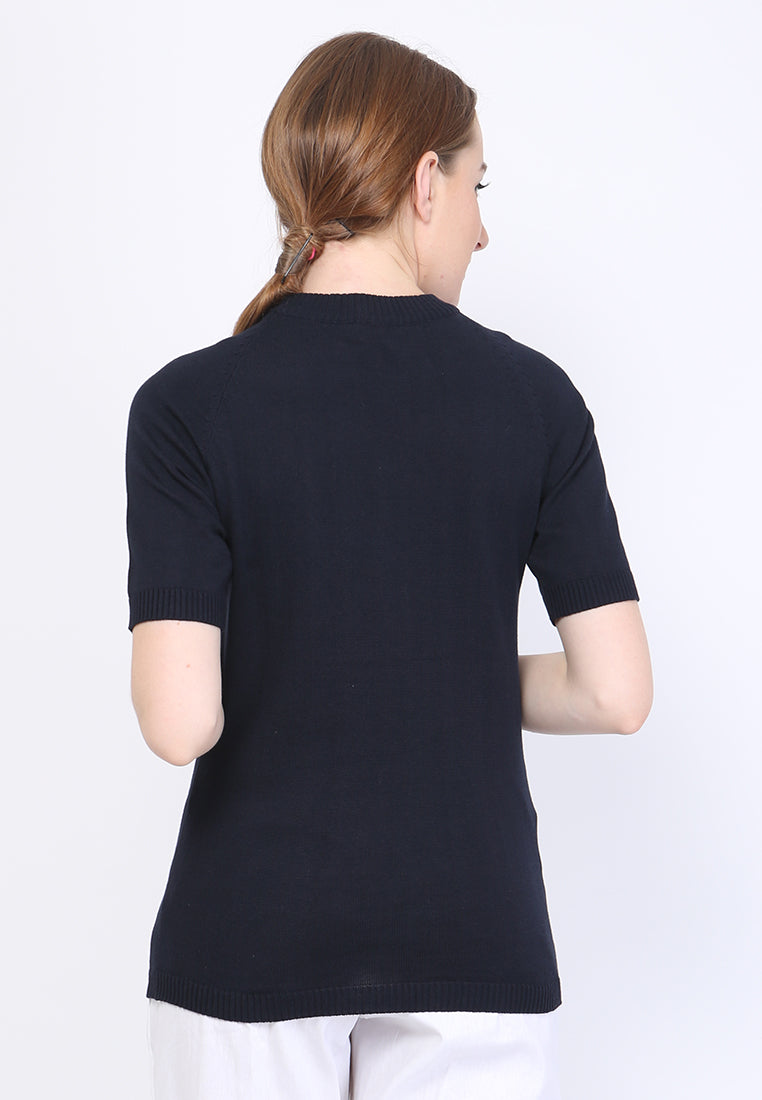 WOMEN KNIT SHORT SLEEVE - NAVY