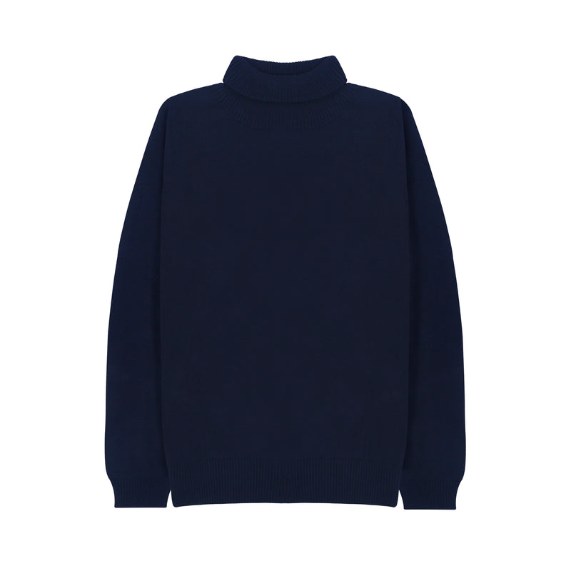 WOMEN KNIT TURTLENECK - NAVY
