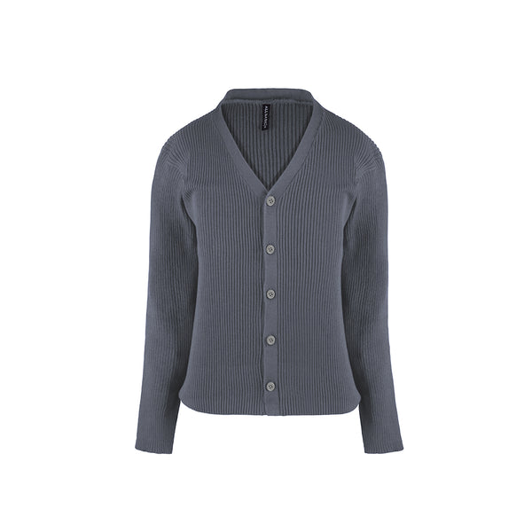 Women Cardigan V Neck Grey