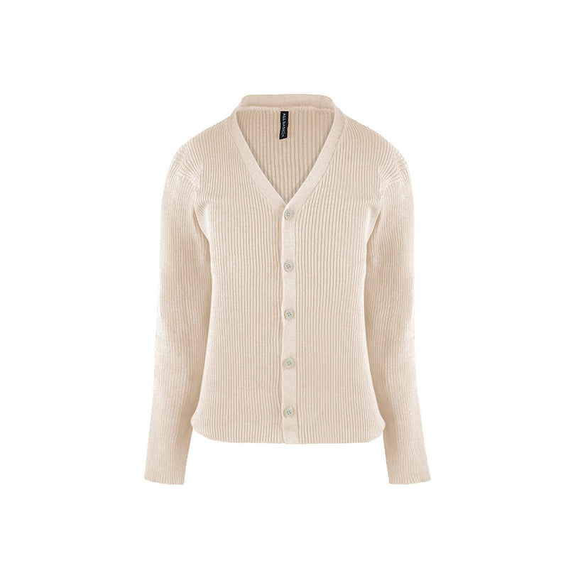 Women Cardigan V Neck Beige