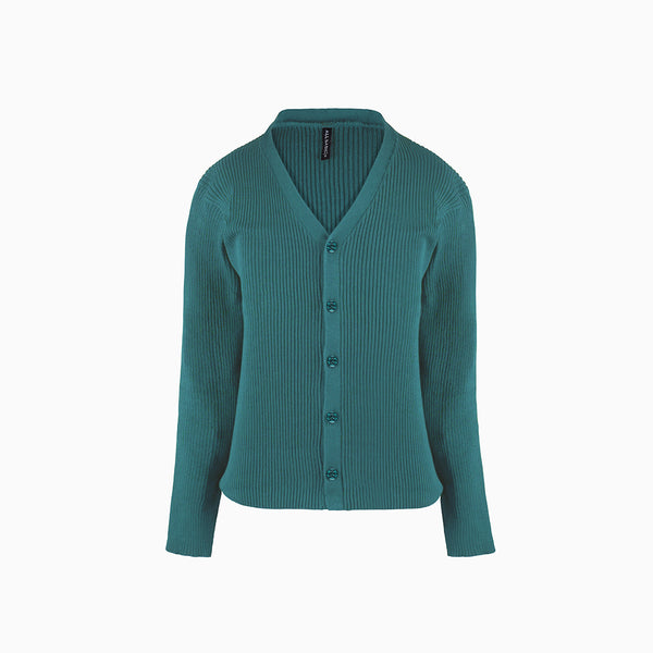 Women Cardigan V Neck Green