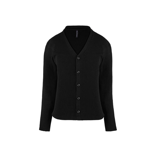 Women Cardigan V Neck Black