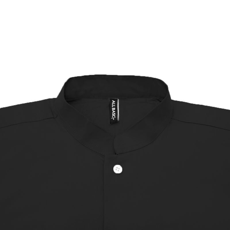 Band Collar Long Sleeve Shirt - Black