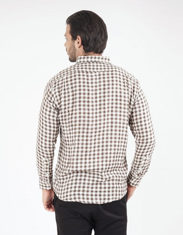 Checked long Sleeve Shirt - Brown