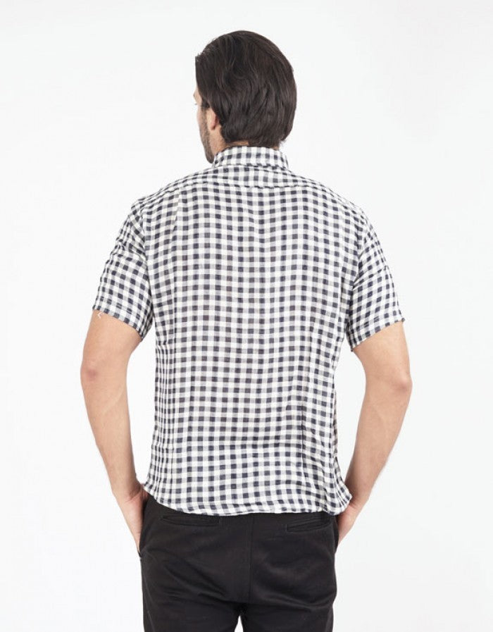 Checked Short Sleeve Shirt - Blue