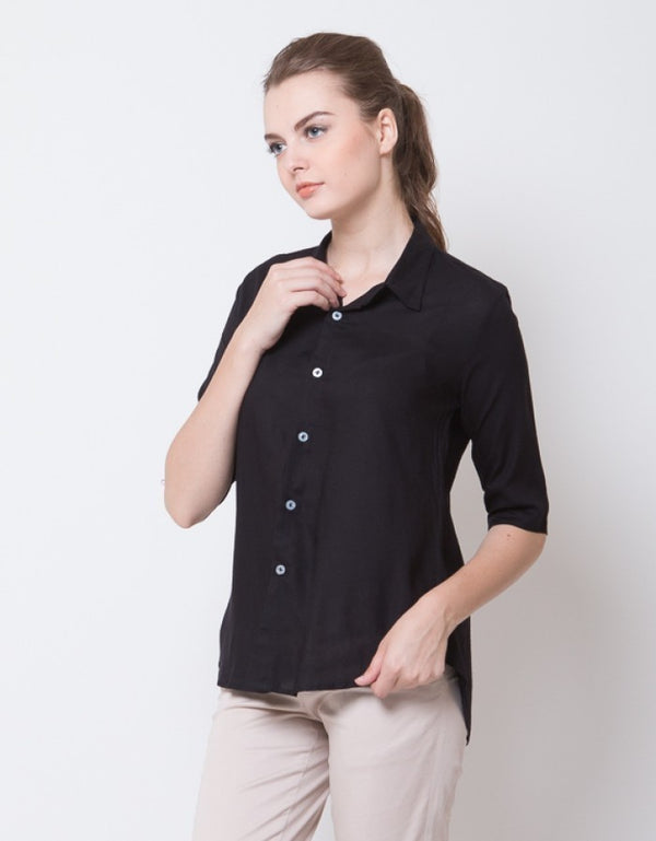 HALF SLEEVES BLOUSE - BLACK