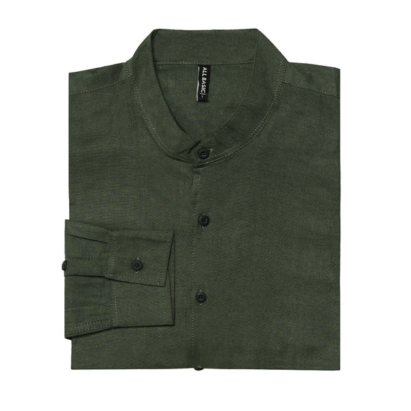 BAND COLLAR - RAMY - LONG SLEEVE SHIRT - ARMY