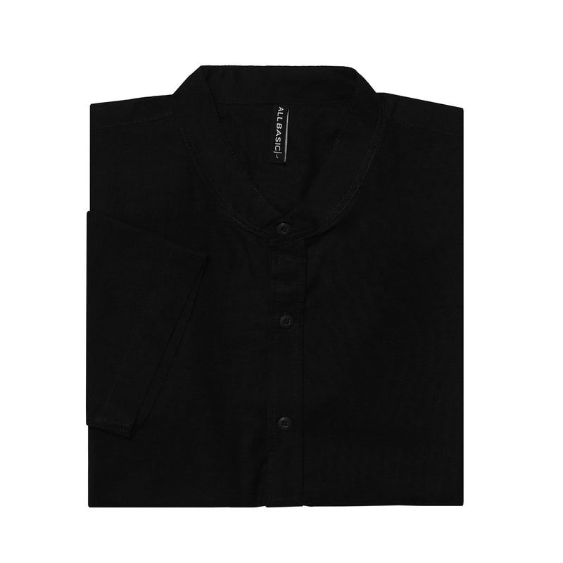 BAND COLLAR - RAMY - SHORT SLEEVE SHIRT - BLACK