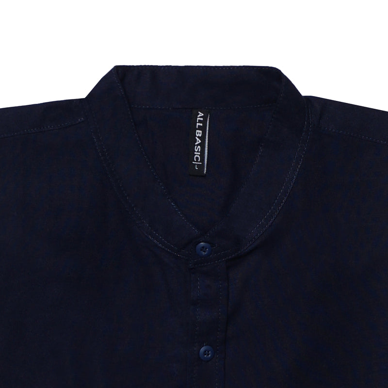 BAND COLLAR - RAMY - SHORT SLEEVE SHIRT - NAVY