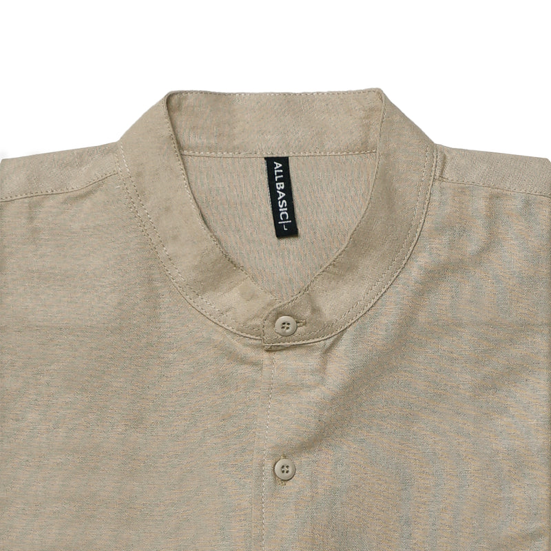 BAND COLLAR - RAMY - LONG SLEEVE SHIRT - KHAKI