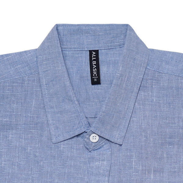 Linen Long Sleeve Shirt - Blue