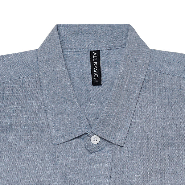Linen Long Sleeve Shirt - Grey