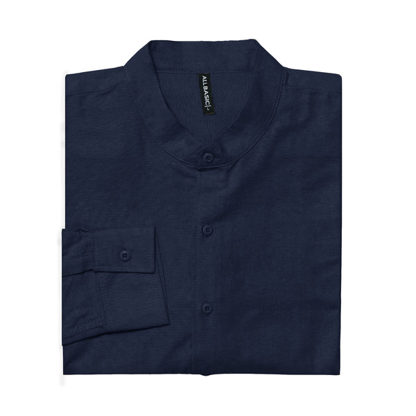 BAND COLLAR - RAMY - LONG SLEEVE SHIRT - NAVY