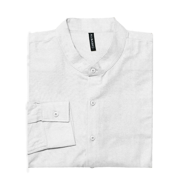 BAND COLLAR - RAMY - LONG SLEEVE SHIRT - WHITE