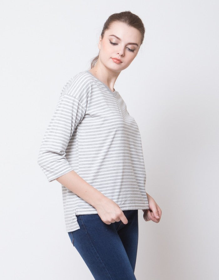 HALF SLEEVE STRIPE TEES - GREY