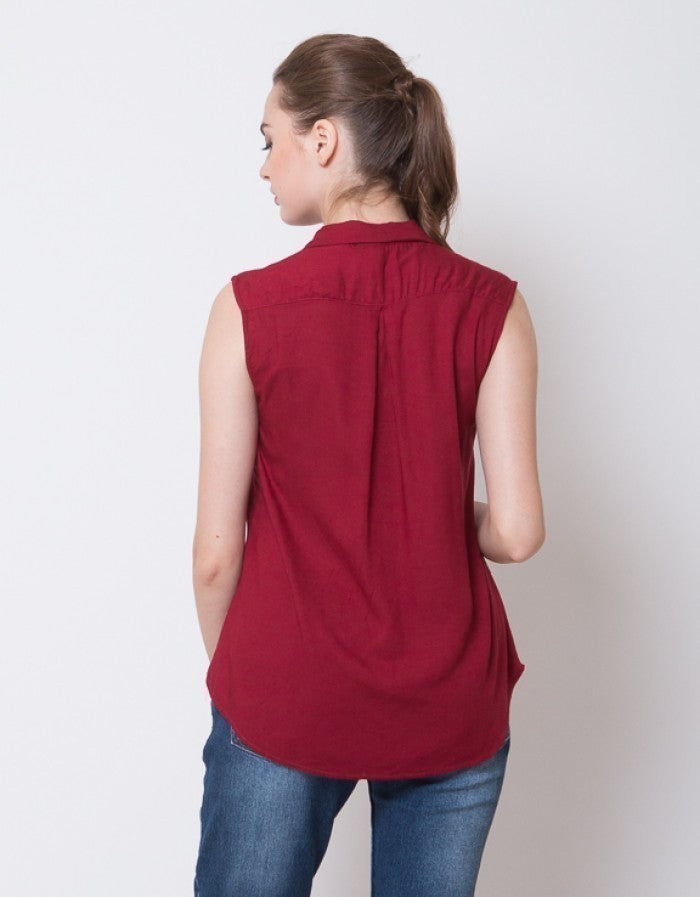 SLEEVELESS BLOUSE - MAROON