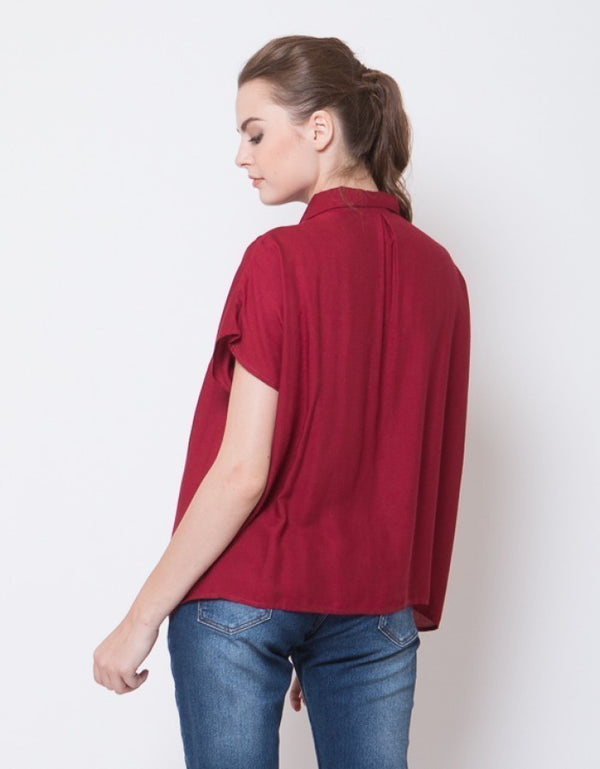 SQUARE PLEATS BLOUSE - MAROON