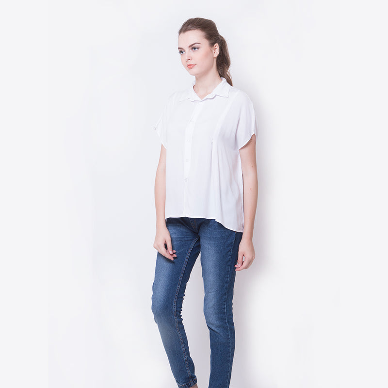 SHORT PLAIN BLOUSE - WHITE