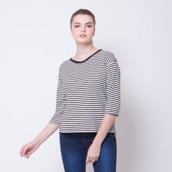 HALF SLEEVE STRIPE TEES - BLACK