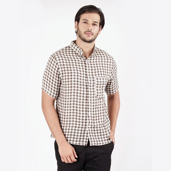 Checked Short Sleeve Shirt - Brown