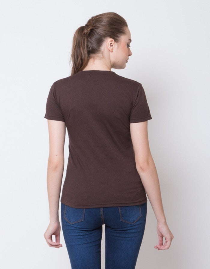 WOMEN BASIC V NECK TEES - BROWN