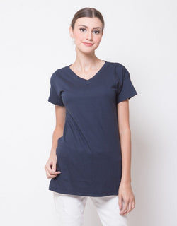 WOMEN BASIC V NECK TEES - NAVY