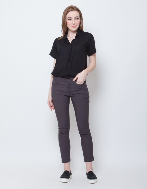 WOMEN FITTED PANTS - DARK GREY