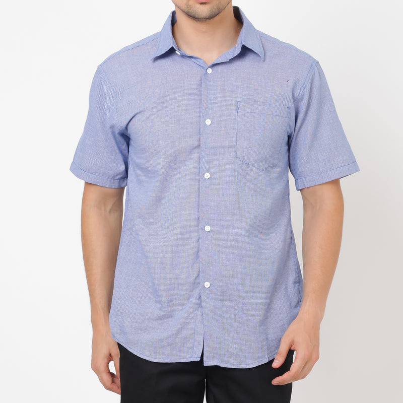 Houndstooth Slim Fit Short Sleeve Shirt - Black