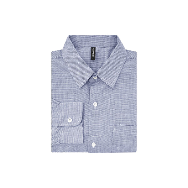Houndstooth Slim Fit Long Sleeve Shirt - Navy