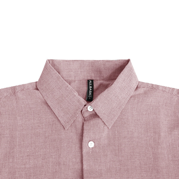 Houndstooth Slim Fit Short Sleeve Shirt - Maroon