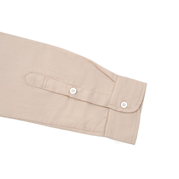 Band Collar Long Sleeve Shirt - Khaki