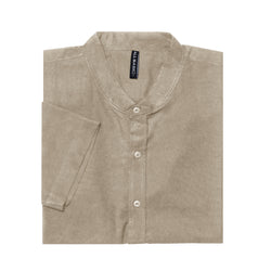 BAND COLLAR - RAMY - SHORT SLEEVE SHIRT - KHAKI