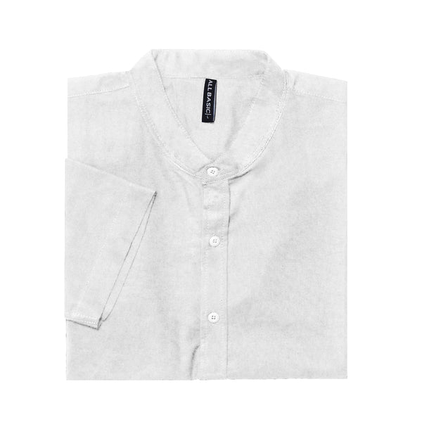 BAND COLLAR - RAMY - SHORT SLEEVE SHIRT - WHITE