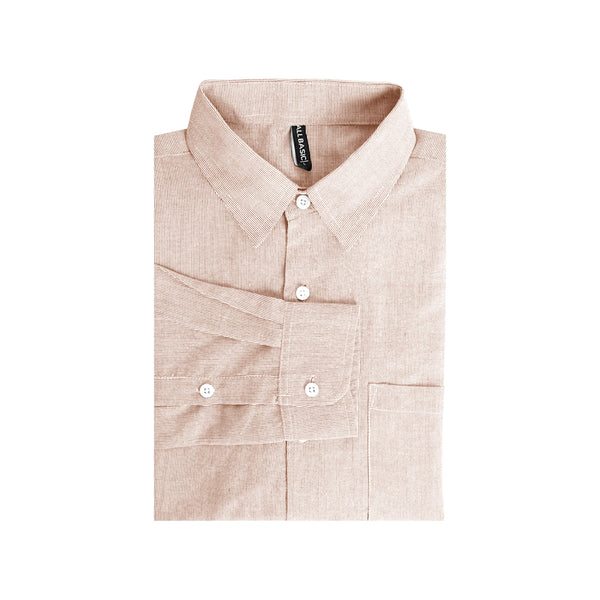 Stripe Slim Fit Long Sleeve Shirt - Brown