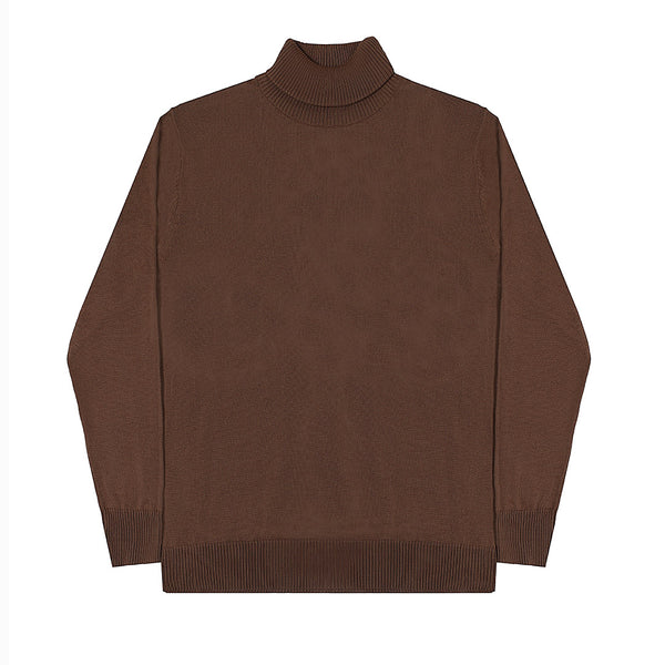 MEN KNIT TURTLENECK - BROWN