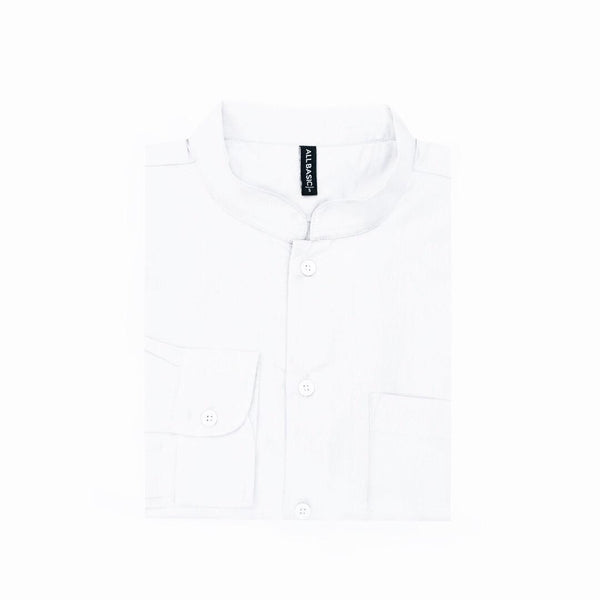 Band Collar Long Sleeve Shirt - White