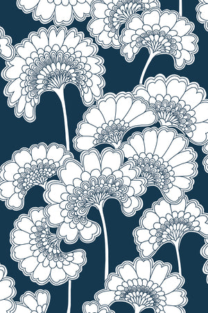 Japanese Floral Cotton Fabric - Navy