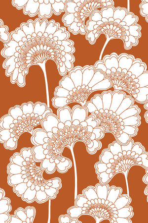 Japanese Floral Cotton Fabric - Burnt Orange