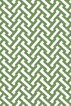 Zig Zag Cotton Fabric - Grass