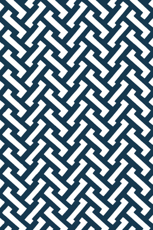 Small Zig Zag Cotton Fabric - Navy