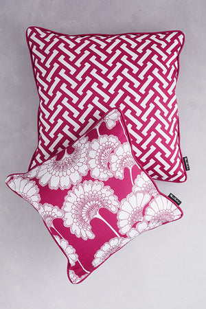 Duet of Cotton Cushions - Deep Pink