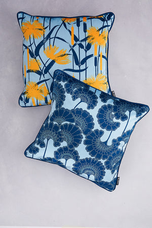 Duet of Velvet Cushions - Baby Blue & Navy